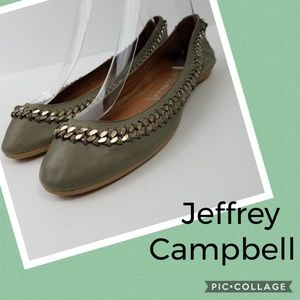 Jeffrey Campbell gray leather chain detail flats